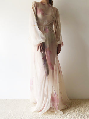 1960s Sheer Watercolor Chiffon Dress - S/M