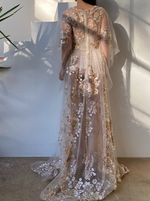 GOSSAMER Embroidered Floral Layered Sleeves Gown  - S/6