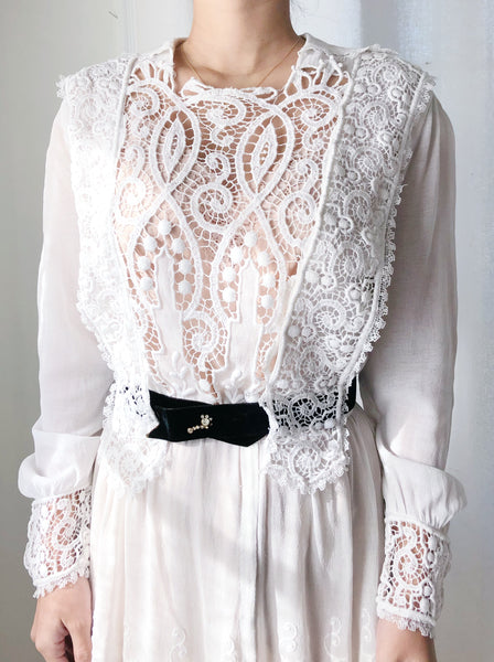 Edwardian Gauze and Embroidered Lace Dress - XS