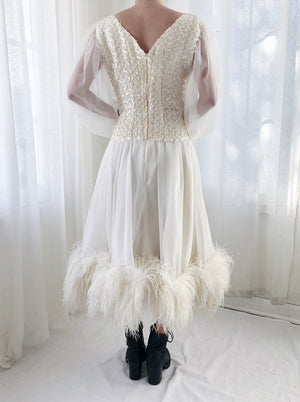 1960s Chiffon and Ostrich Feather Sequin Dress - S/M