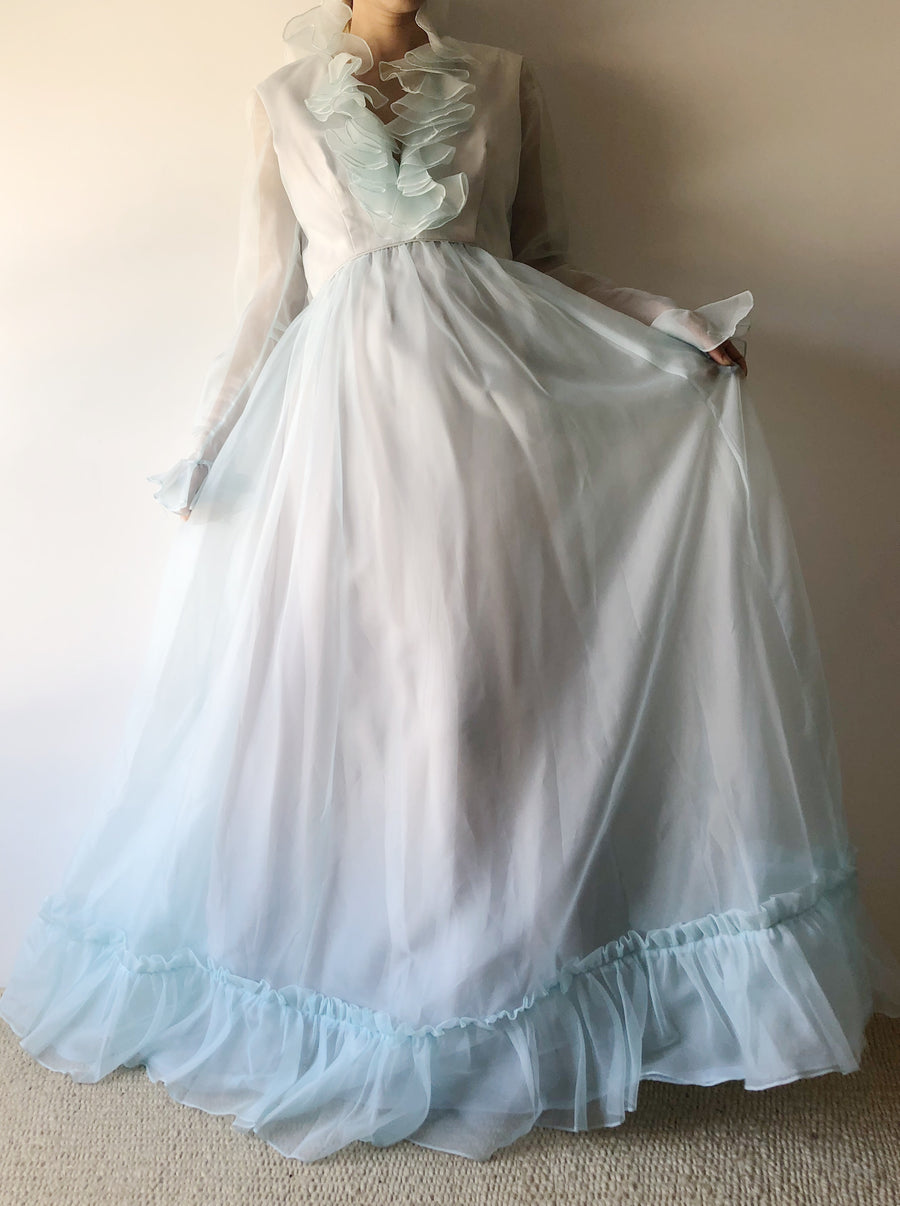 1960s Sheer Tricot Ruffle Gown- S