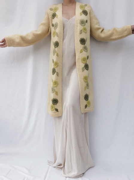 1950s Yellow Wool Embroidered Long Cardigan - One Size