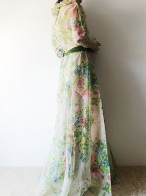 1960s Sheer Tricot Floral Gown- S/M
