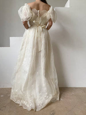 1980s Embroidered Puff Sleeves Dress - S