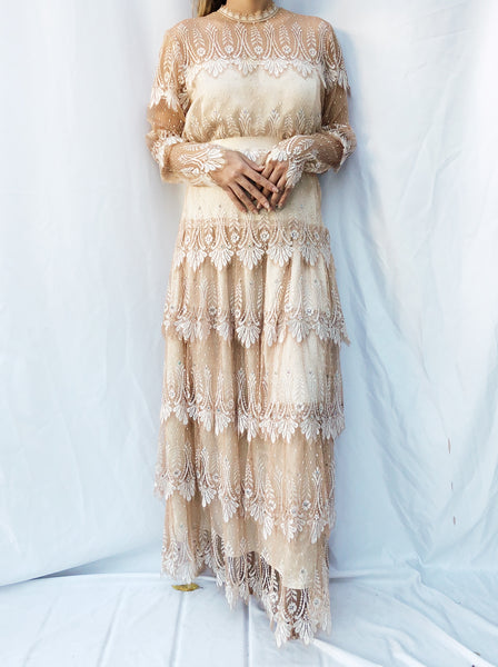 Vintage Tiered Ecru Silk Lace Dress - M