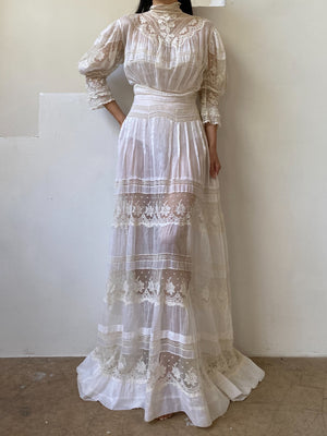 Antique Silk/Cotton Puff Sleeves Gown - XS/S