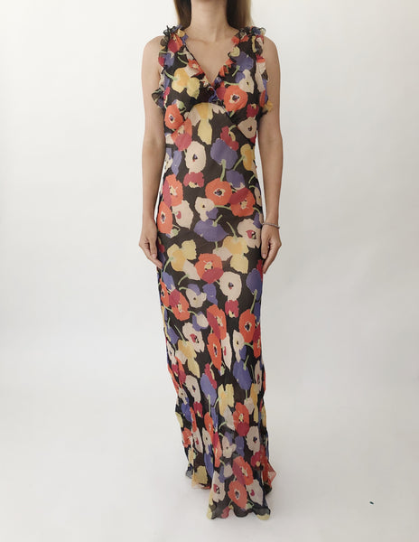 1930s Floral Bias Cut Dress - XS/S