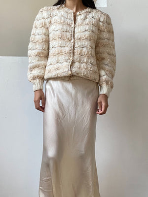 Vintage Light Peach/Ivory Woven Cardigan - M