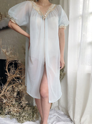 Vintage Light Blue Short Nightgown- One Size
