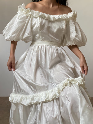 1980s Ivory Satin Puffed Sleeves Dress - XS