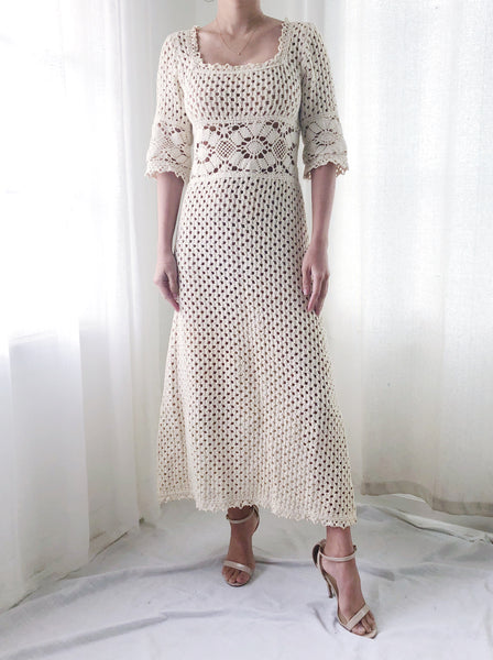 1970s Square Neck Lace Crochet Dress- XS/S