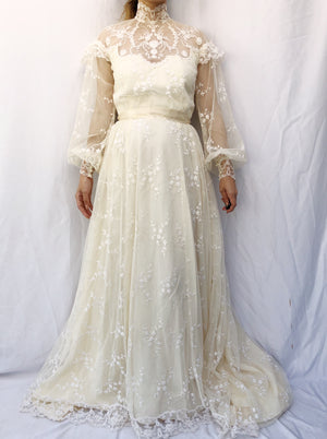 1980s Needle Lace Sleeves Gown - S