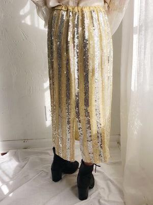 1980s Light Yellow Silk Beaded Skirt - M
