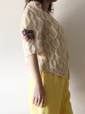 1970s Honeycomb Embroidered Knit - M