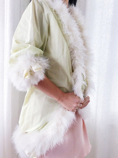 1940s Nylon Feather Dressing Robe - One Size