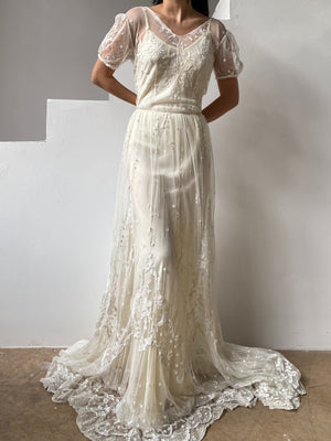RESERVED Antique Short Sleeve Tambour Lace Gown - S