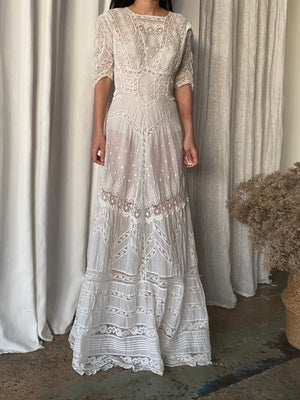 Antique Edwardian Embroidered Gown - S