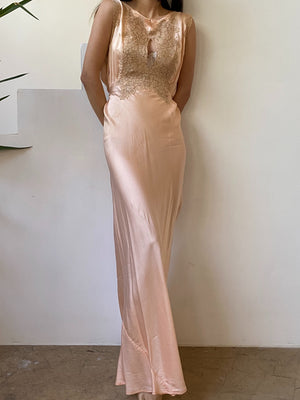 1930s Peach Silk and Lace Slip Gown - S/M