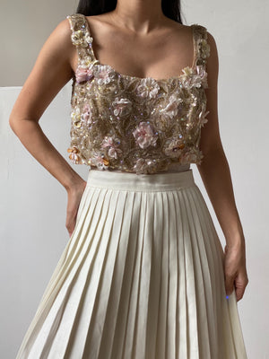 1960s Silk Beaded Cropped Bodice - S/M