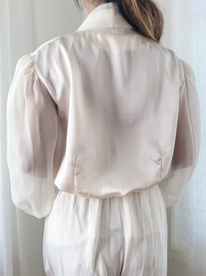 Vintage Satin and Chiffon Blouse  - S/M