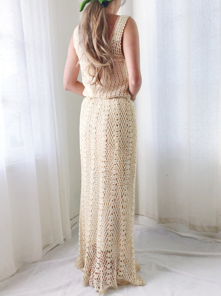 1970s Beige Crochet Dress - XS-M