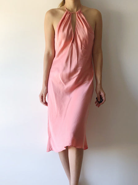 Vintage Coral Silk Slip Dress - M/L