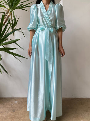 1960s Cyan Puff Sleeves Satin Dressing Gown - One Size