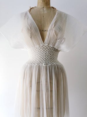 1960s White Sheer Chiffon Pleated Slip - S