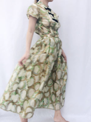 1950s Painted Silk Organza Dress - S