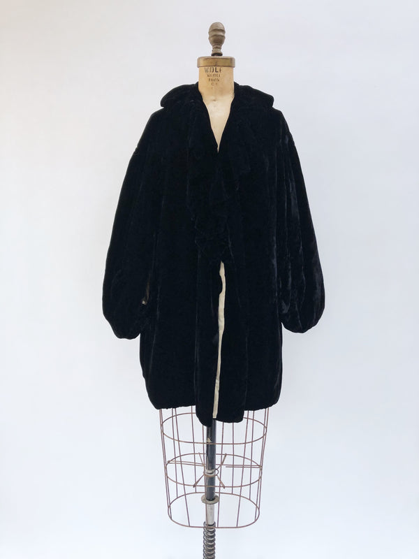 1920s Black Silk Velvet Opera Coat - OSFM