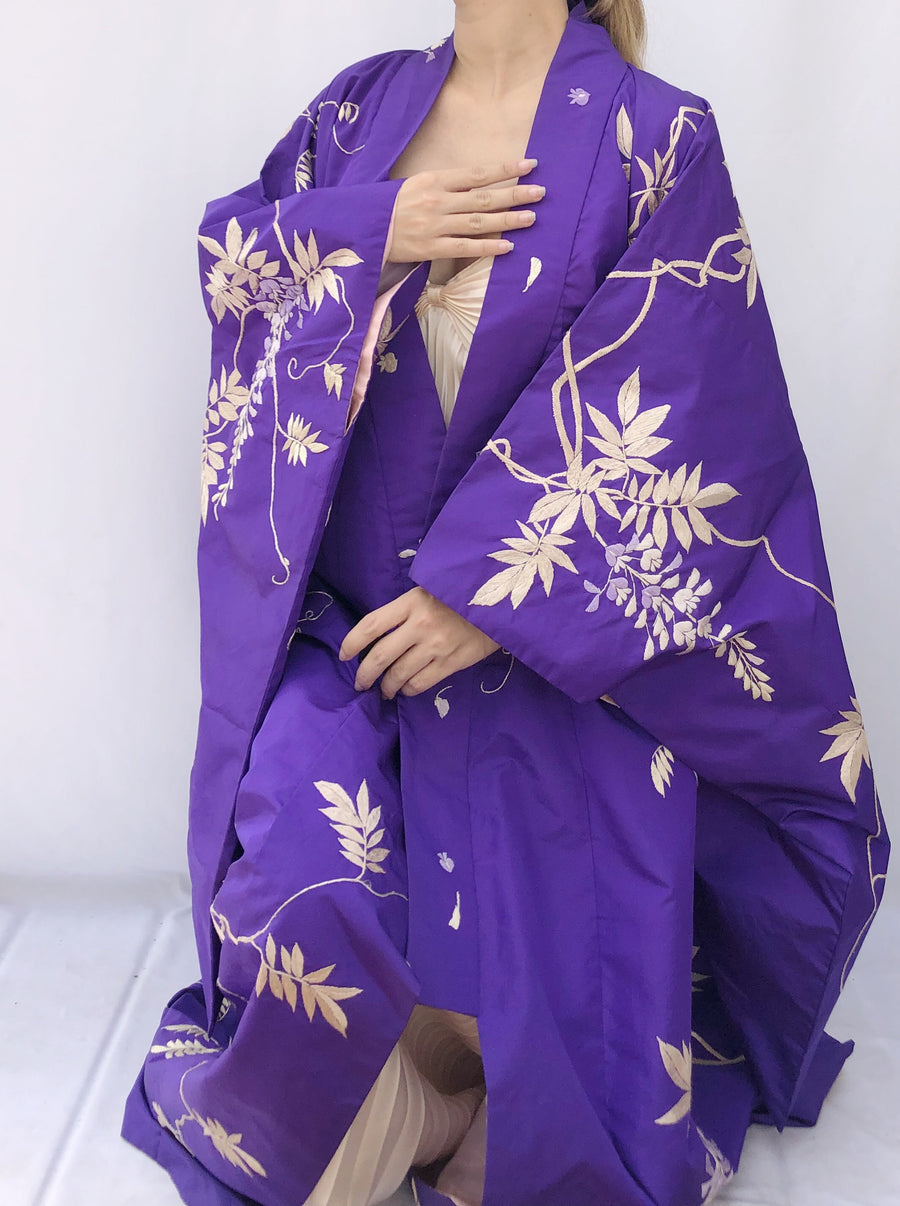 Antique Purple Paper Silk Kimono with Embroidery - One Size