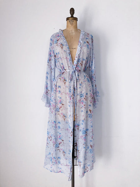 1990s Blue Chiffon Floral Robe/Duster - S/M