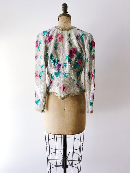 1980s Silk Beaded Embroidered Jacket - S/M