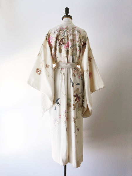 Antique Ivory Silk Embroidered Kimono - One Size