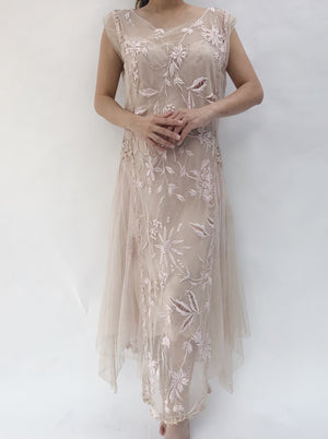 1920s Pink Embroidered Flapper Dress - S/M