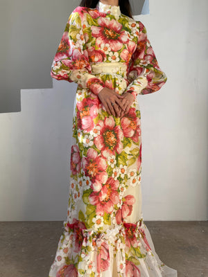 1970s Mutton Sleeves Floral Chiffon Dress - XS