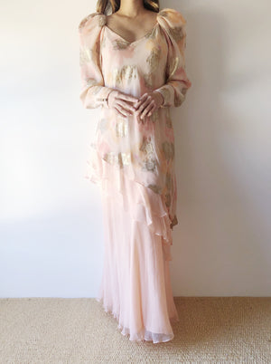 Vintage Peach Silk Layered Dress - S/M