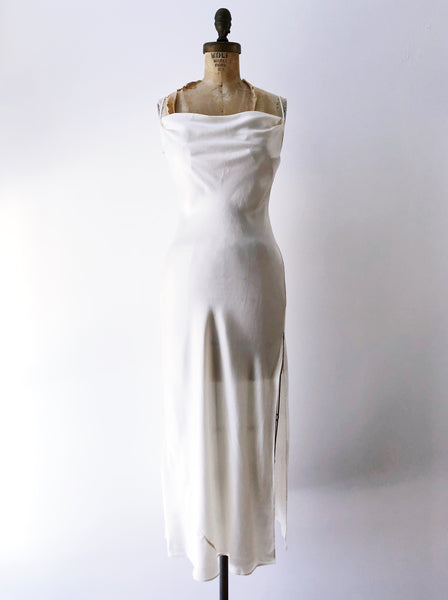 Ivory Silk Charmeuse Bias Cut Dress - S/M
