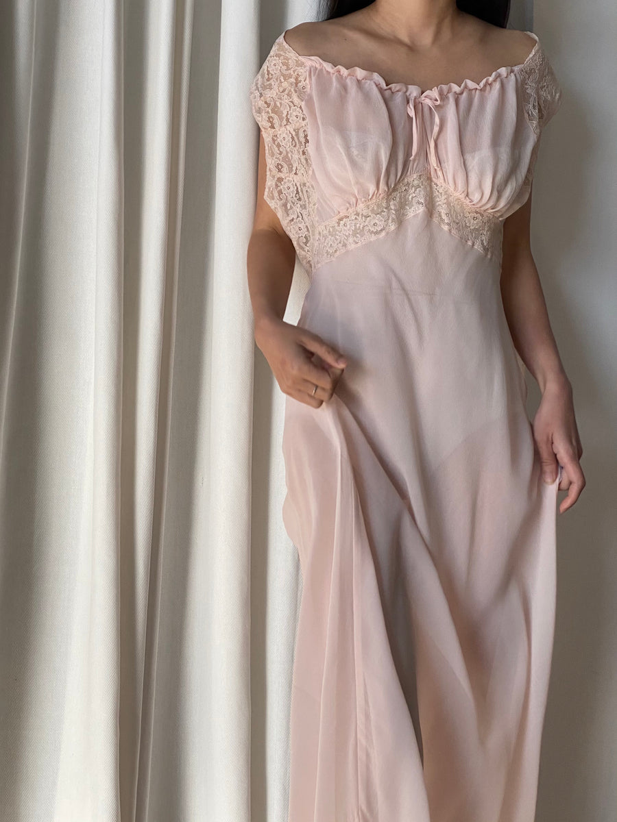1930s Sheer Silk Gown Slip Dress - M