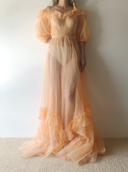 RESERVED Vintage Orange Sherbet Puff Sleeve Ruffle Gown - M