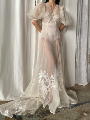 1930s Puff Sleeves Silk Organza Net Gown - XS/S