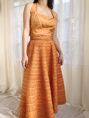 1950s Saffron Silk and Raffia Dress - XS