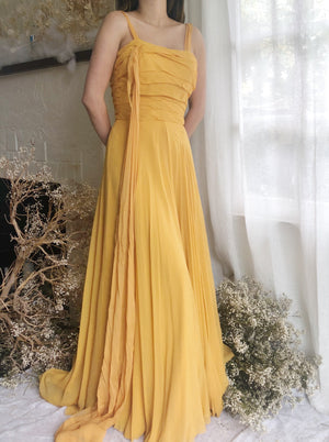 1950s Saffron Silk Dress - XS