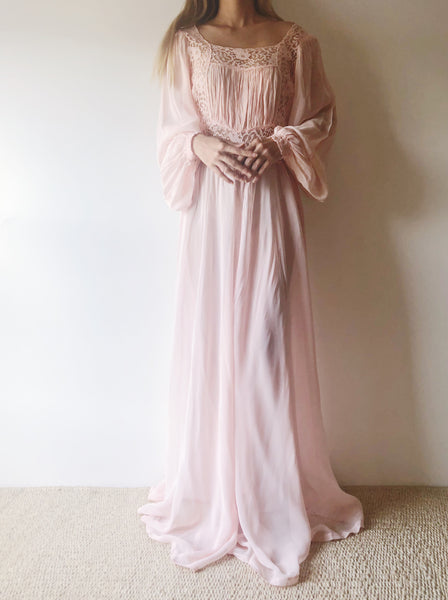 1940s Pink Poet Sleeve Gown - S