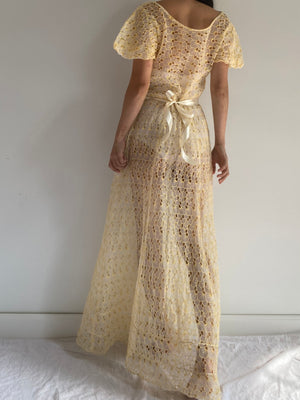 1930s Yellow Eyelet Gown - S/M