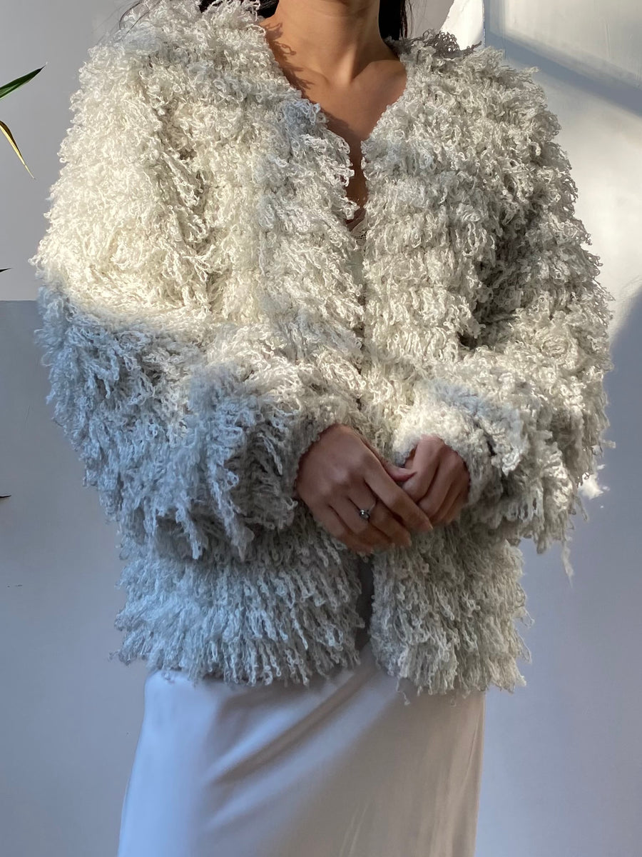 Vintage Light Blue Shaggy Jacket - S/M