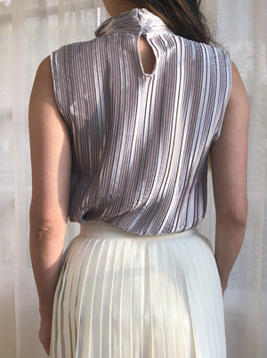 Vintage Pewter Grey Pleated Top - S/M