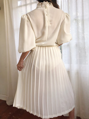 1980s Puff Sleeve Crepe Dress - M/L