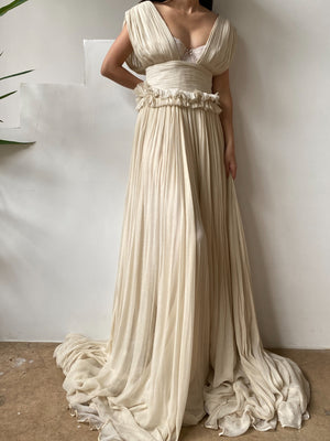 Maria Lucia Hohan Grecian Pleated Backless Gown - S/M