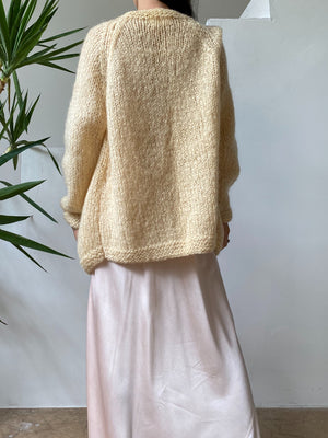1950s Ivory Wool/Mohair Embroidered Cardigan - M